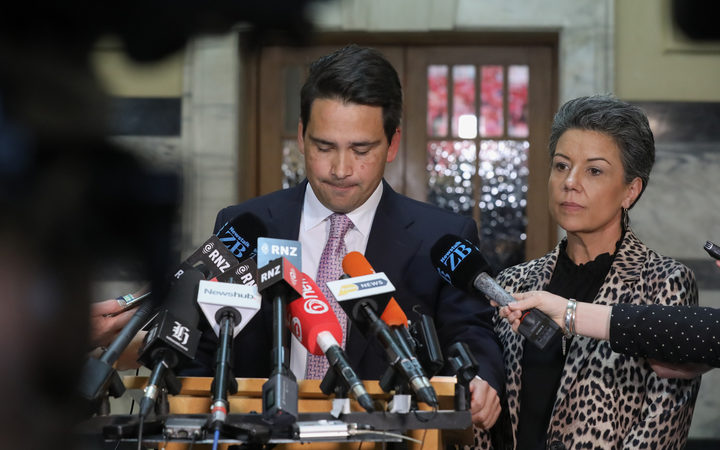Simon Bridges and Paula Bennett, during the press conference regarding the Jami-Lee Ross tape