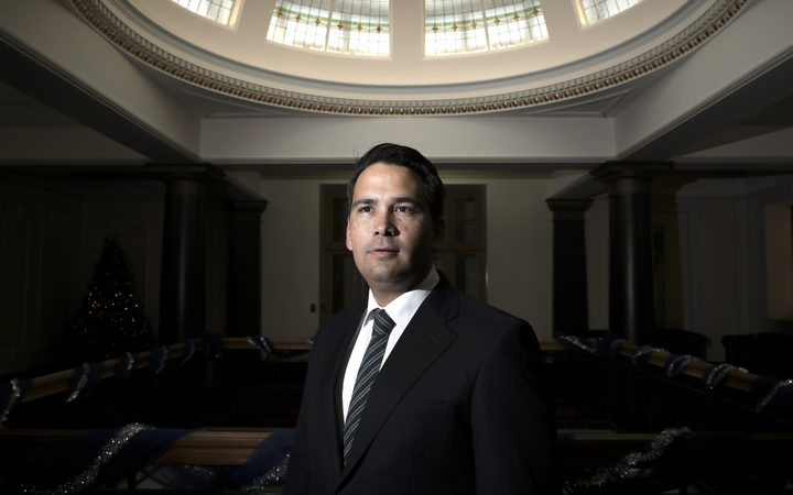 Simon Bridges stands in the atrium of the National Party offices.