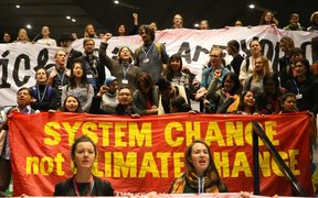 Participants attend demonstration during COP 24,  the United Nations Framework Convention on Climate Change, which takes place on December 2-14. Katowice, Poland on 14 December, 2018.