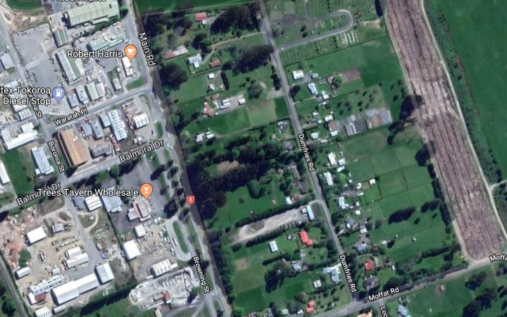 A map view of Dumfries Road, Tokoroa.