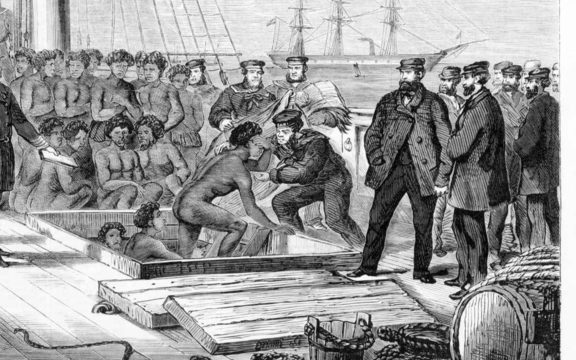 Seizure of the blackbirding schooner Daphne and its cargo by the HMS Rosario in 1869.