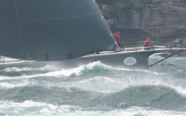 Yacht Wild Oats XI at the start of the 71st Rolex Sydney to Hobart yacht race on Sydney Harbour in Sydney on Saturday, Dec. 26, 2015.