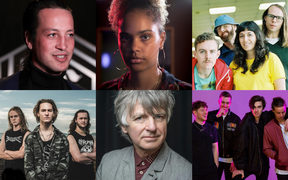 Clockwise L-R: Marlon Wiliams, JessB, The Beths, Drax Project, Neil Finn, and Alien Weaponry