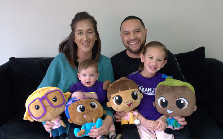 Pipi Mā dolls creator Kristin Ross and family.