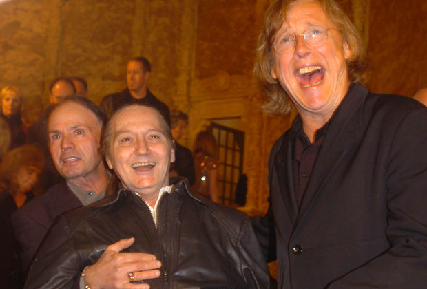 Members of the Easybeats: Harry Vanda, Stevie Wright, and Snowy Fleet, on the red carpet at a hall of fame night in 2005.
