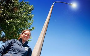 NIWA freshwater ecologist Michelle Greenwood is trying to find out how a change in the colour spectrum of street lights is affecting tiny insects.