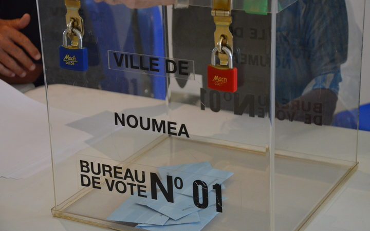 Ballot box used for New Caledonia's independence referendum