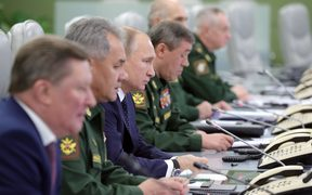 President Vladimir Putin at the National Defense Control Center.