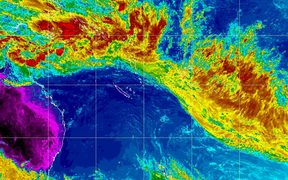 A satellite image shows the tropical depression TD03F and the band of low pressure across the South Pacific.