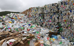 Bales of mixed plastic wait for export at Wellington's recycling facility at Seaview.
