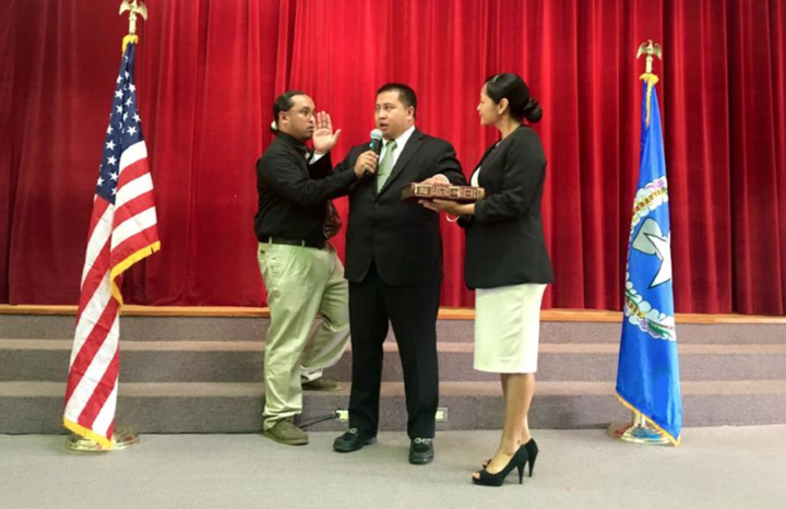 CNMI governor Ralph Torres being sworn in