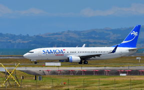 Samoa Airways Boeing 737-800 taxiing at Auckland International Airport.