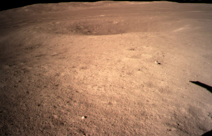 The image from the China National Space Administration shows the first image of the moon's far side taken by China's Chang'e-4 probe