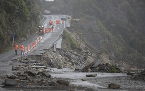 Huge storm surges damaged SH6 in Punakaiki, West Coast, February 2018.