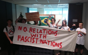 Organise Aotearoa activists entered the embassy to protest Brazilian President Jair Bolsonaro's inauguration.
