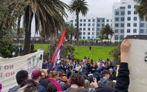 Protesters clash at Melbourne's St Kilda beach.