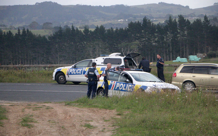 Police at the scene of an armed offenders call out in Taupaki.