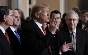 United States President Donald Trump talks to the press after the Republican Policy luncheo on January 9, 2019 in Washington, DC. L-R: Senator John Barrasso, US Vice President Mike Pence, Trump, US Senate Majority Leader Mitch McConnell