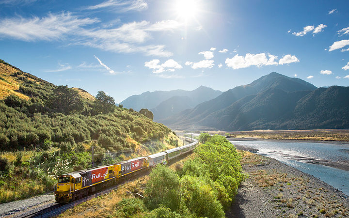 The TranzAlpine train, which runs between Christchurch and Greymouth