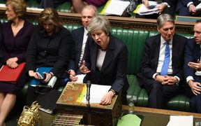 Britain's Prime Minister Theresa May speaking during Prime Minister's Questions in the House of Commons