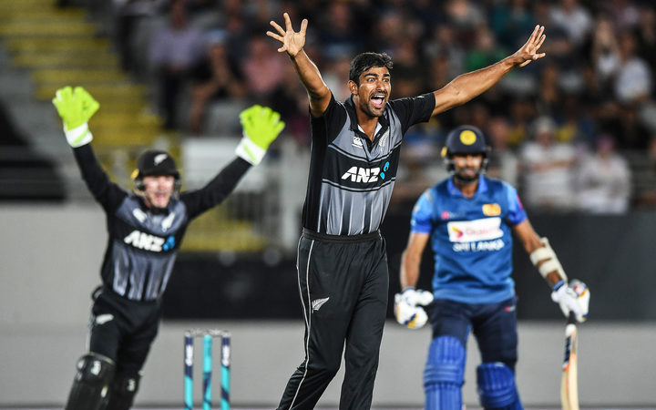 New Zealand leg spin bowler Ish Sodhi appeals successfully for a LBW decision to dismiss Dasun Shanaka.