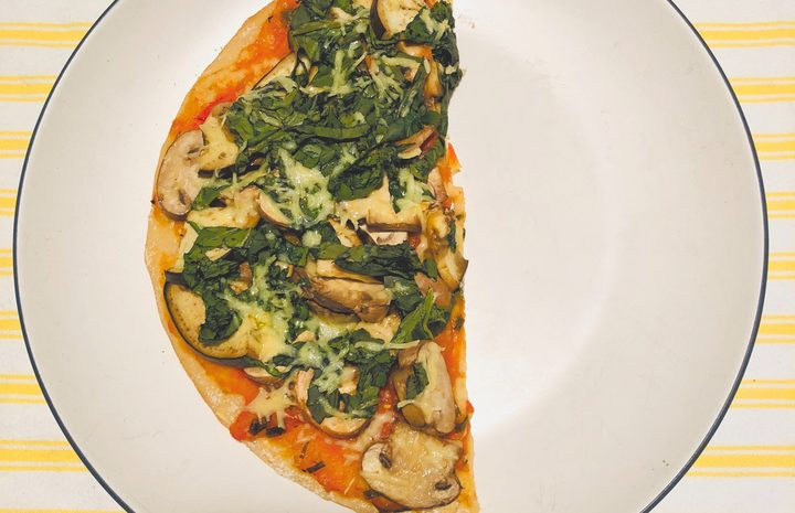 A serving of allergy-friendly pizza.