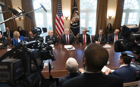 US President Donald Trump participates in a roundtable discussion on border security and safe communities at the White House on Friday.