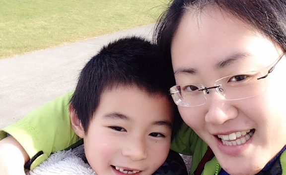 Zoe Jiang with her six-year-old son Zac.