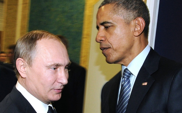 Russian President Vladimir Putin meets with US President Barack Obama