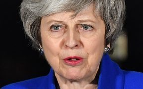 Britain's Prime Minister Theresa May delivers a speech to members of the media in Downing Street in London on January 16, 2019, after surviving a vote of no confidence in her government.