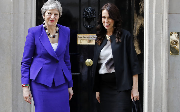 Britain's Prime Minister Theresa May and New Zealand Prime Minister Jacinda Ardern outside 10 Downing Street, before a bilateral meeting.