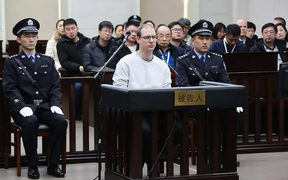 Canadian Robert Lloyd Schellenberg during his retrial on drug trafficking charges in the court in Dalian in China's northeast Liaoning province where he was sentenced to death on drug trafficking charges, January 14, 2019.
