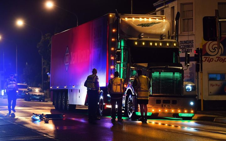 The scene of the crash between a Lime e-scooter and a truck in Dunedin.