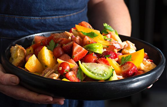 Tomato and summer fruit Panzanella