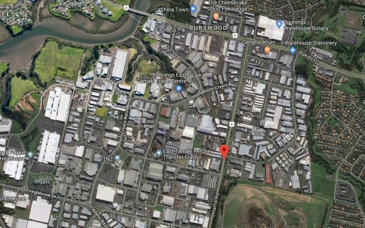 Harris Road in East Tamaki, Auckland, where a man was injured in a workplace incident on Friday 18 January.
