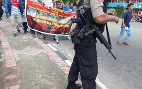 Students protest Nduga action in Ambon on 18 January 2019.