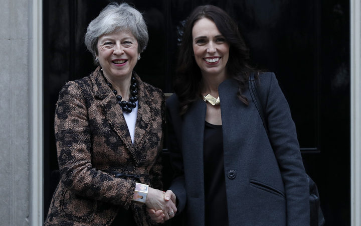 British Prime Minister Theresa May greets Prime Minister Jacinda Ardern outside 10 Downing Street.
