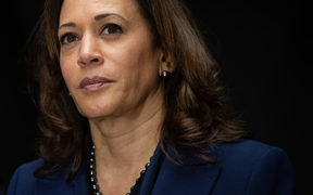 US Senator Kamala Harris speaks with survivors of sexual assault and supporters as they protest against Judge Brett Kavanaugh's nomination as an Associate Justice on the Supreme Court in 2018.