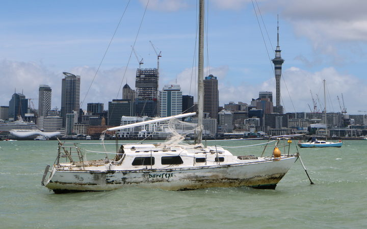 An abandoned boat in the Waitemata harbour