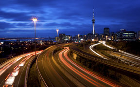 Rush hour traffic in Auckland City