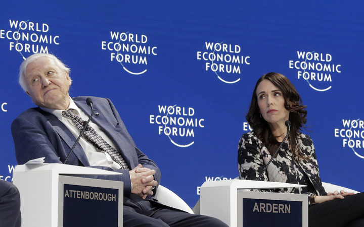 Sir David Attenborough, broadcaster and natural historian, and Prime Minister Jacinda Ardern participate in the Safeguarding the planet session at the World Economic Forum in Davos, Switzerland.