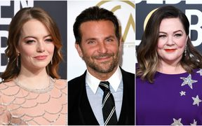 Emma Stone (L), Bradley cooper and Melissa McCarthy have all been nominated for an Oscar.