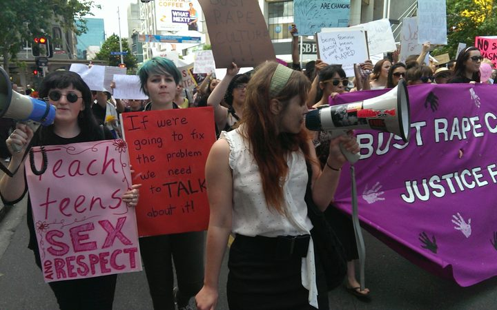 Protesters marched up Queen Street in Auckland.