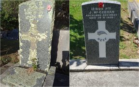 A before and after photo of a war grave restored by The New Zealand Remembrance Army.