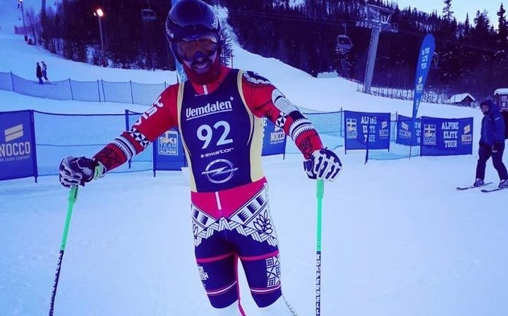 Tongan skier Kasete Naufahu Skeen after his first race back in Klovsjoe, Sweden.