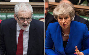 Jeremy Corbyn and Theresa May in the Commons on 17 Janaury 2018 as MPs debate a motion of no confidence.