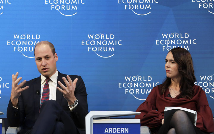 Prime Minister Jacinda Ardern listens as Prince William speaks while taking part in the Mental Health Matters panel at the World Economic Forum in Davos, Switzerland.
