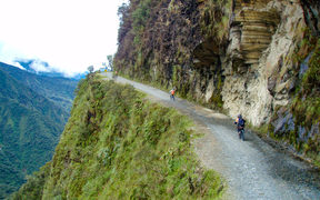 Death Road, a popular path for mountain biking tourists between La Paz and Coroico, Bolivia.