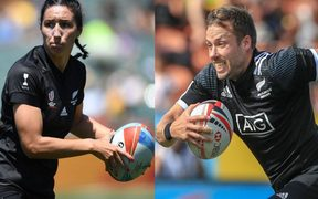 Black Ferns sevens captain Sarah Goss and All Blacks sevens captain Tim Mikkelson.