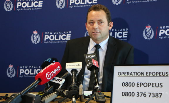 Detective inspector Aaron Pascoe briefing the media on the homicide case of Shannon Baker.